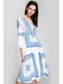 Vestido Combinado Cord 243;n Blanco Larga S Manga Azul Con Floral Y Con Con Estampado RTrzqRw