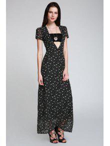 فستان طباعة النجوم ماكسي غارق الرقبة - أسود S