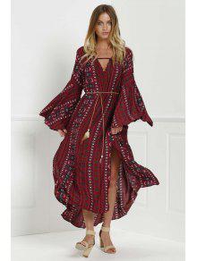 فستان طباعة قبلية جرس الأكمام ماكسي متدفق - أحمر L