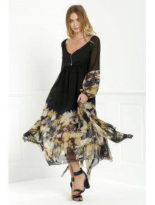 فستان طويلة الأكمام طباعة ماكسي الشيفون - أسود Xl