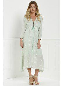 Midi Floral Embroidered Dress - Sage Green L