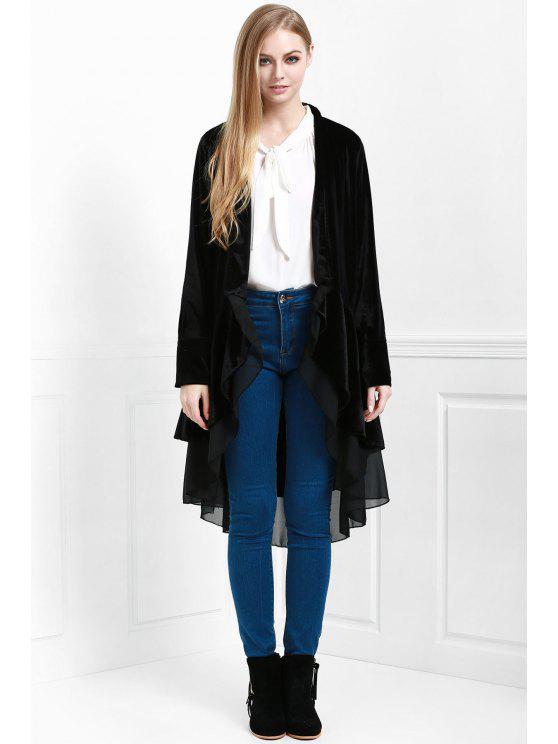 معطف نسائي أنيق طويلة الأكمام مخملي - أسود XL