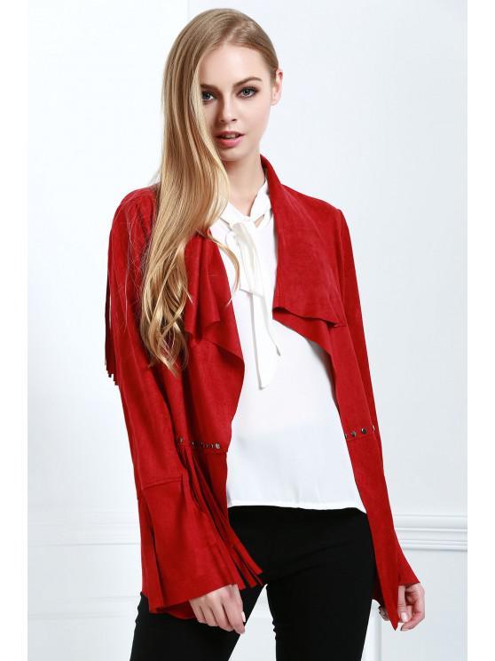 buy Fringe Suede Coat - RED S