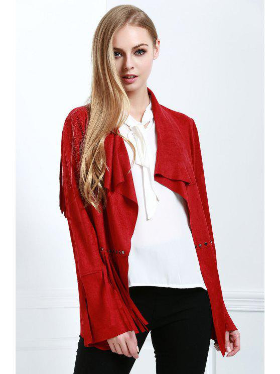 affordable Fringe Suede Coat - RED M
