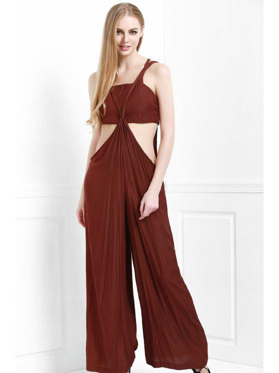 latest Cami Solid Color with Boob Tube Top Jumpsuit - COFFEE M