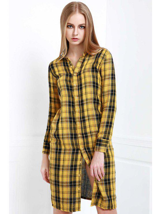 latest Long Sleeve Single-Breasted Plaid Dress - YELLOW S