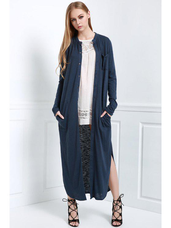 womens Long Sleeve Solid Color Maxi Cardigan - BLUE L