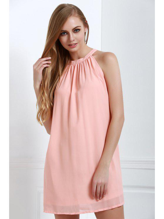 outfits Solid Color Loose-Fitting Halter Neck Dress - LIGHT PINK XS