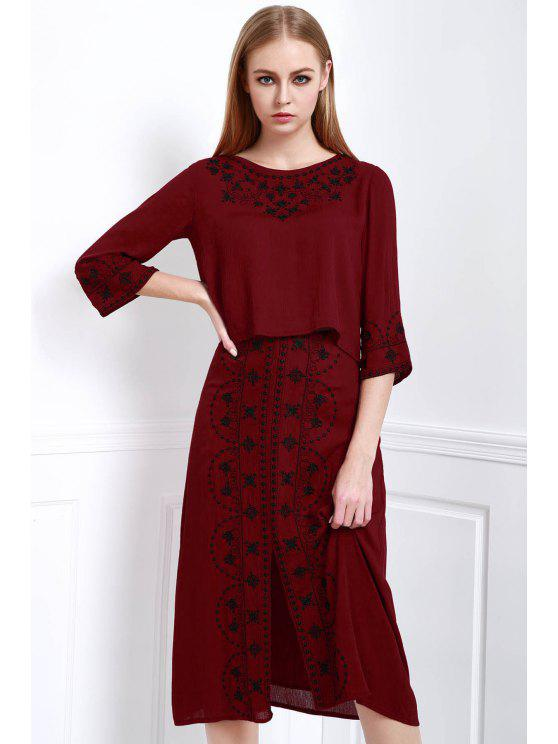 affordable Floral Embroidery 3/4 Sleeve Blouse and Skirt Suit - DARK RED L