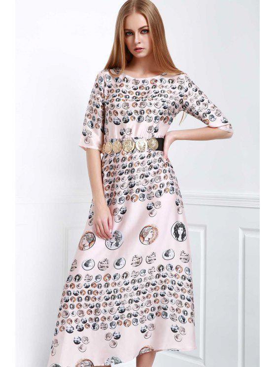 latest Waisted Printed Round Collar Half Sleeves Dress - COLORMIX M