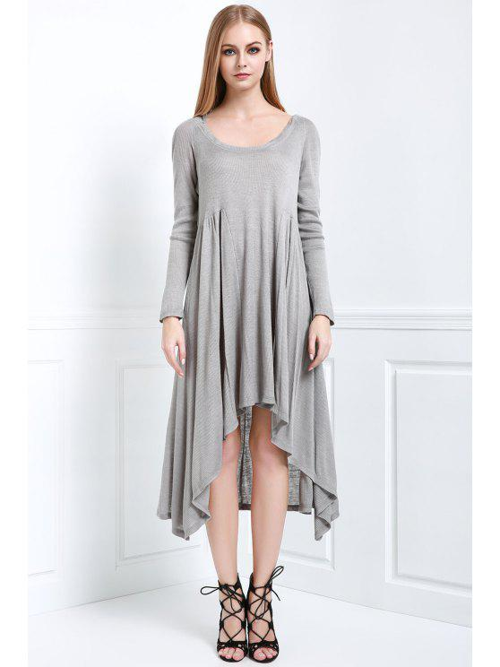 chic Solid Color Hooded Long Sleeve Dress - GRAY M