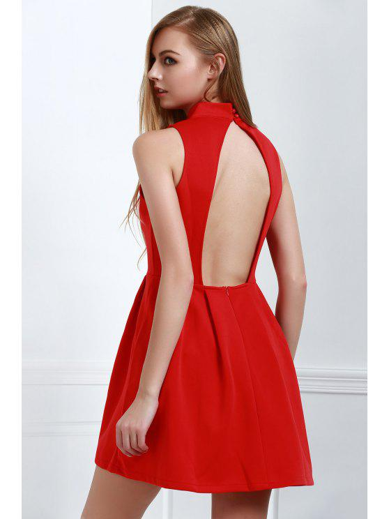 buy Red Stand Neck Sleeveless Dress - RED S