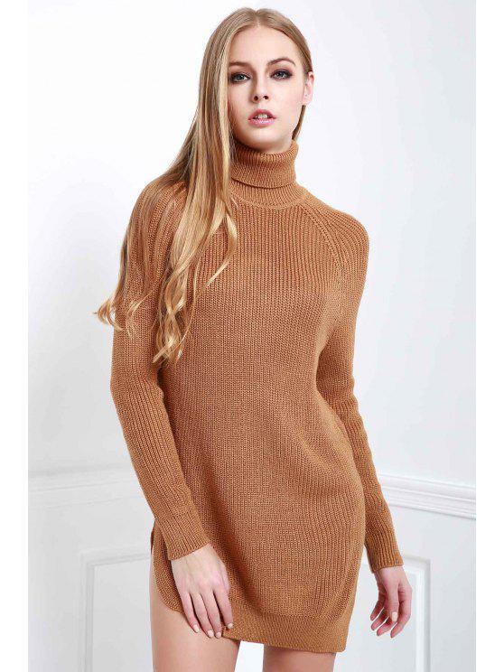 ladies Solid Color Side Slit Long Sleeevs Turtle Neck Sweater - DARK KHAKI M