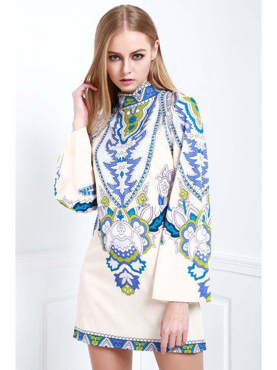 hot Bell Sleeve Totem Print Dress - WHITE S