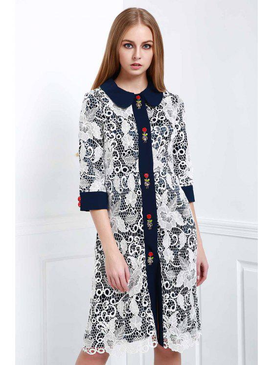 latest Voile Floral Turn Down Collar Short Sleeve Dress - WHITE S