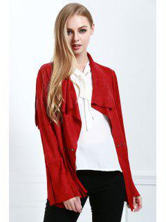Fringe Suede Coat - Red S
