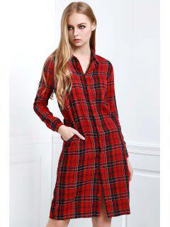 Long Sleeve Single-Breasted Plaid Dress - Purplish Red Xl