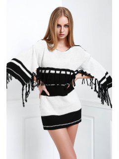 Black And White 3/4 Sleeve Jumper - White And Black