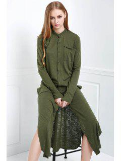 Long Sleeve Solid Color Maxi Cardigan - Olive Green S