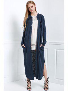 Long Sleeve Solid Color Maxi Cardigan - Blue L
