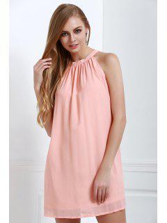 Solid Color Loose-Fitting Halter Neck Dress - Light Pink L