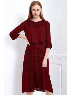 Floral Embroidery 3/4 Sleeve Blouse And Skirt Suit - Dark Red L