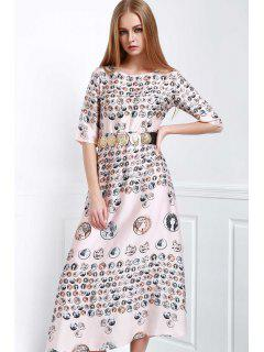 Waisted Printed Round Collar Half Sleeves Dress - M