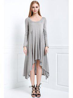 Solid Color Hooded Long Sleeve Dress - Gray M
