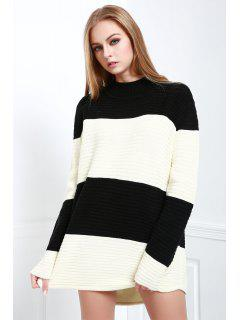 Turtle Neck White And Black Jumper - Black And White