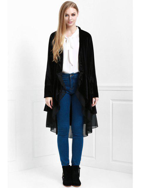 online Swingy Velvet Long Sleeve Coat - BLACK S Mobile