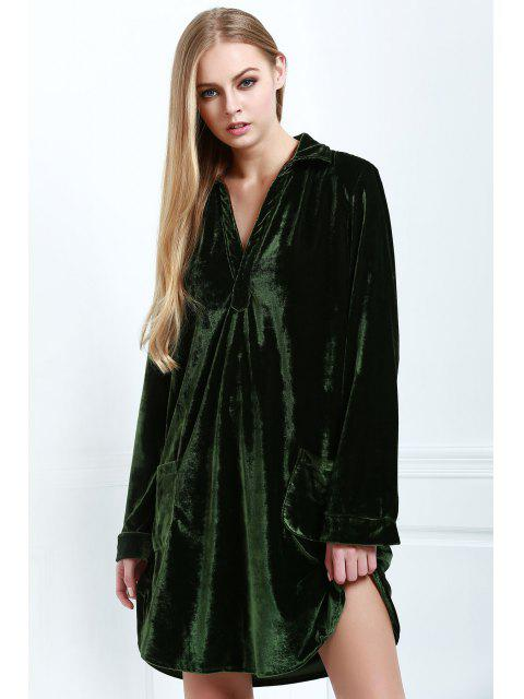women Loose Velvet Shirt Dress - ARMY GREEN S Mobile