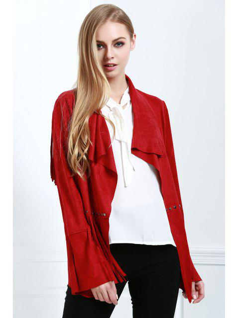 Mantel aus Wildleder mit Quaste - Rot S Mobile