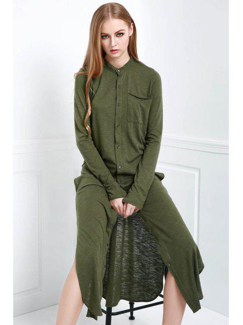 trendy Long Sleeve Solid Color Maxi Cardigan - OLIVE GREEN S Mobile