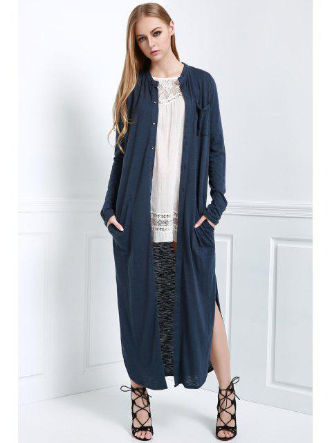 womens Long Sleeve Solid Color Maxi Cardigan - BLUE L Mobile