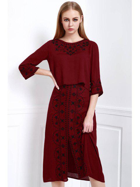 affordable Floral Embroidery 3/4 Sleeve Blouse and Skirt Suit - DARK RED L Mobile