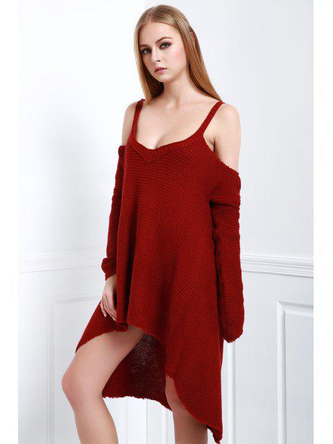 affordable High Low Cold Shoulder Slip Sweater - CLARET XL Mobile