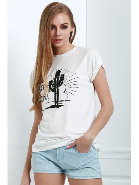 hot Short Sleeve Letter Cactus White T-Shirt - WHITE XL Mobile
