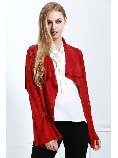 Fringe Suede Coat - Red Xl
