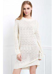 Loose-Fitting Sweater Dress - White