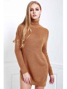 Solid Color Side Slit Long Sleeevs Turtle Neck Sweater - Dark Khaki L