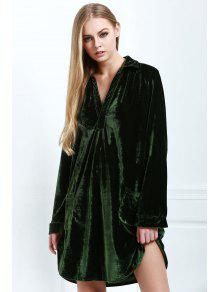 70208297 36% OFF] 2019 Loose Velvet Shirt Dress In ARMY GREEN | ZAFUL