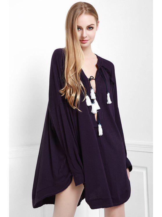 Profundo soporte púrpura cuello manga larga blusa - Morado Oscuro S