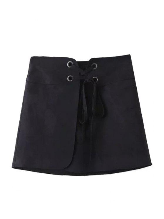 womens Lace-Up A Line Suede Skirt - BLACK L