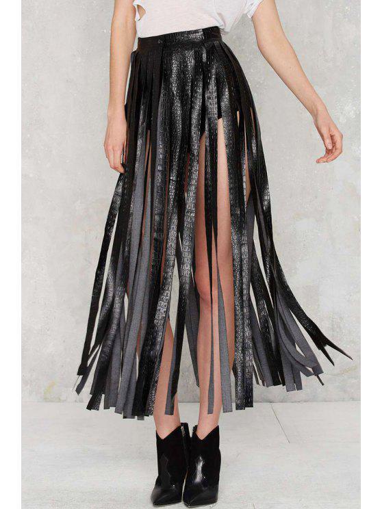 women's Skirting With Fate Fringe Skirt - BLACK L