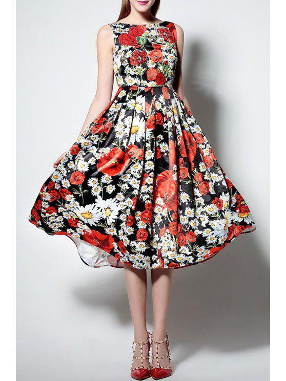 Blumendruck-Boot-Ausschnitt Ärmel Waisted Sun-Kleid - COLORMIX  XL