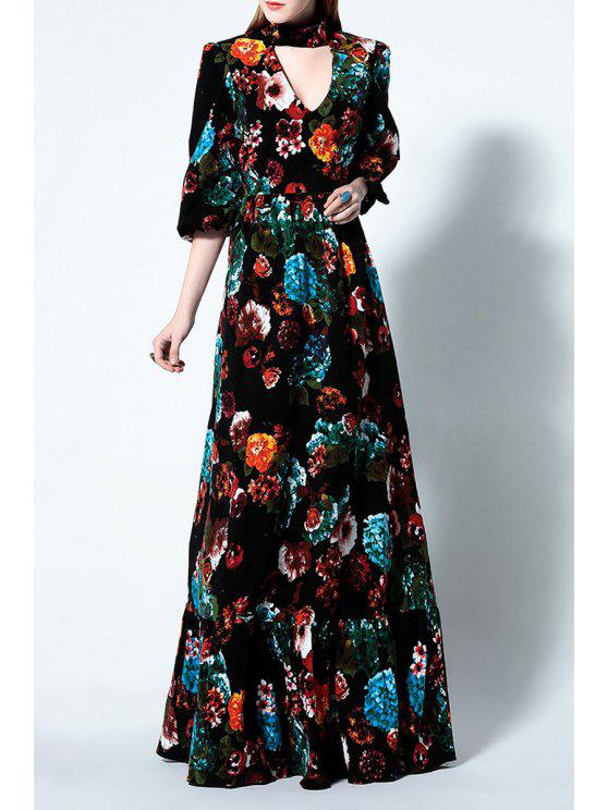 0eb33d6fc65775 25% OFF  2019 Puff Sleeve Cut Out Floral Print Maxi Dress In BLACK ...