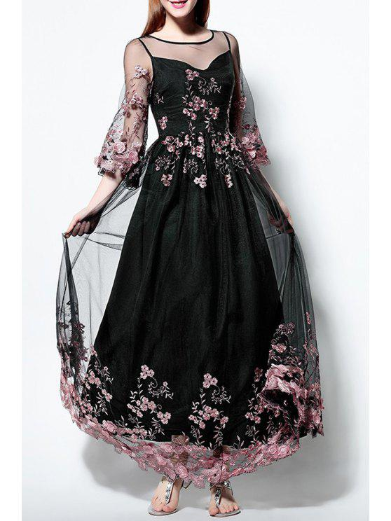 12df7a5caeba8b 35% OFF] 2019 Voile Spliced Bell Sleeve Floral Embroidery Maxi Dress ...