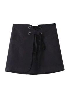 Lace-Up A Line Suede Skirt - Black L