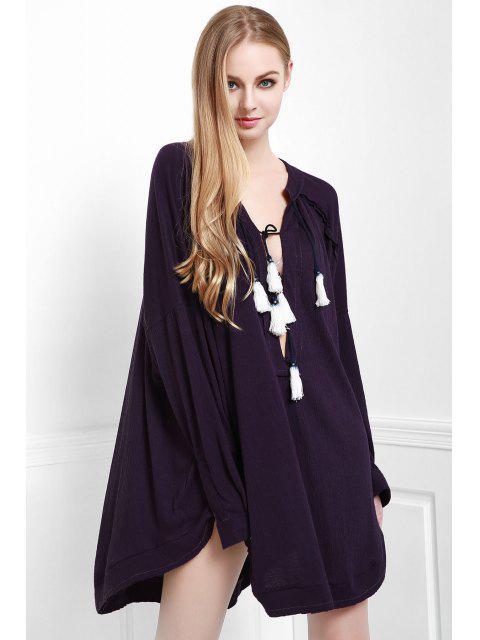 Profundo soporte púrpura cuello manga larga blusa - Morado Oscuro S Mobile