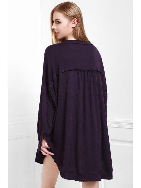 Stand de Deep Purple Neck Blouse manches longues - Violet Foncé S Mobile